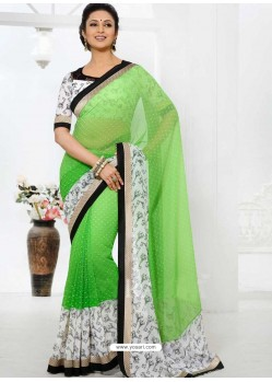 White And Green Georgette Saree