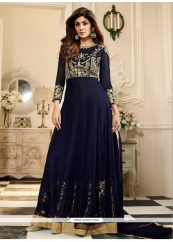 Shilpa Shetty Net Navy Blue Embroidered Work Floor Length Anarkali Suit