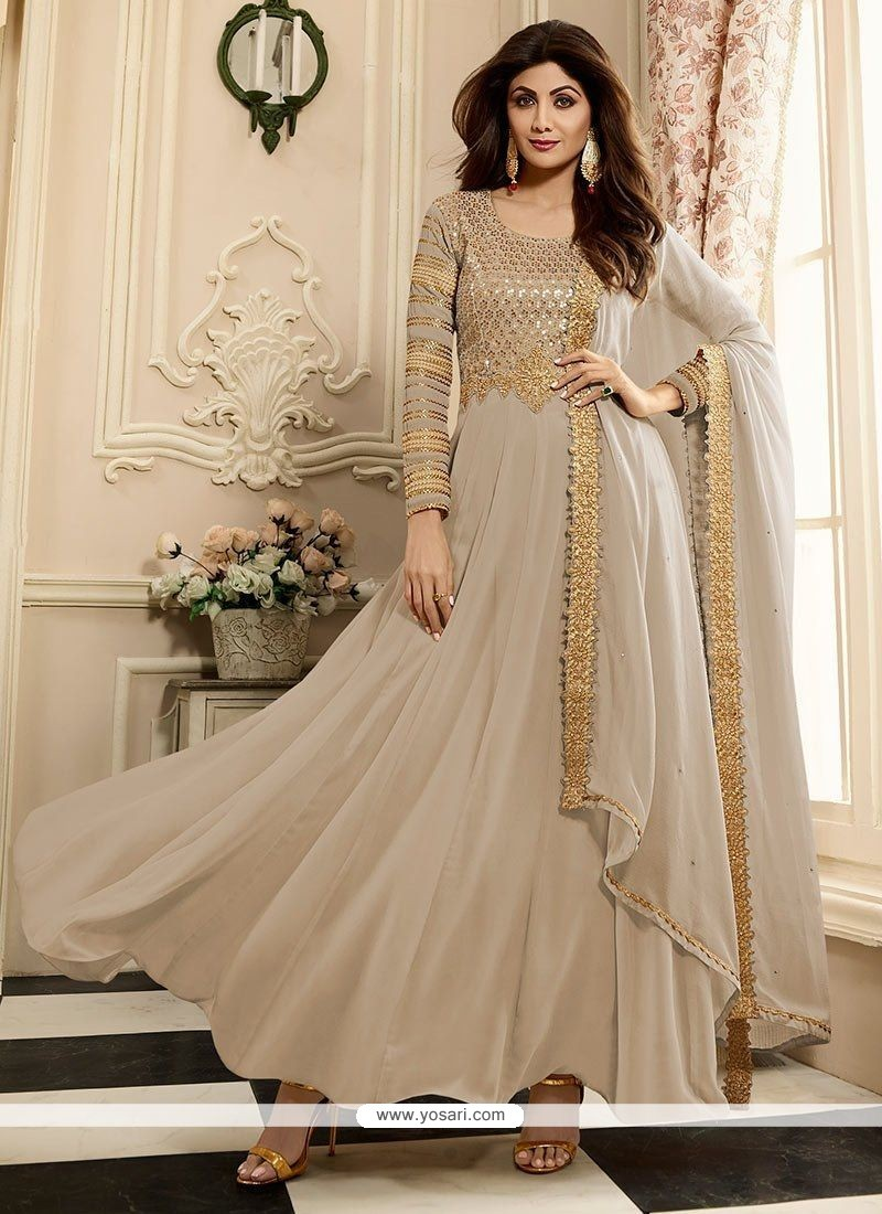 Buy Shilpa Shetty Off White Stone Work Floor Length Anarkali Suit ...