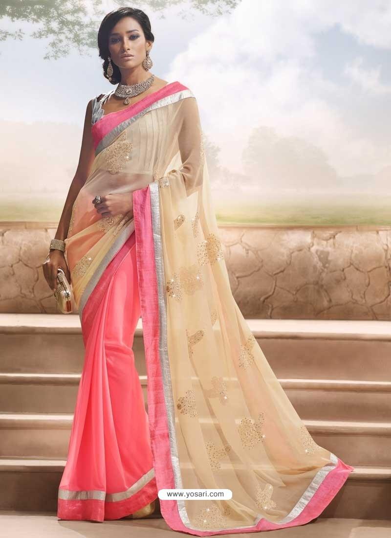 Cream And Pink Chiffon Satin Saree