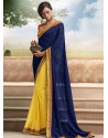 Navy Blue And Yellow Georgette,Brasso Saree