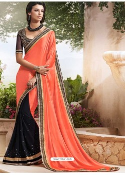 Black And Orange Georgette,Satin Saree