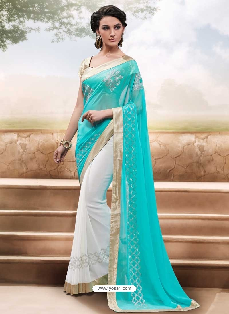 White And Sky Blue Georgette,Satin Saree