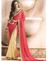 Red And Cream Georgette Satin Saree
