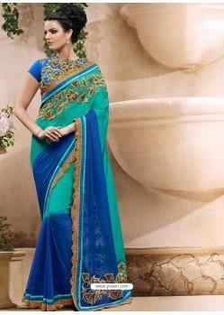Blue Georgette Satin Saree
