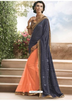 Black And Orange Georgette Satin Saree