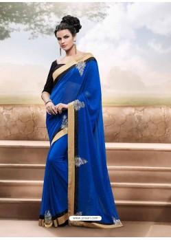 Black And Blue Georgette Satin Saree