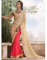 Cream Georgette,Brasso Saree