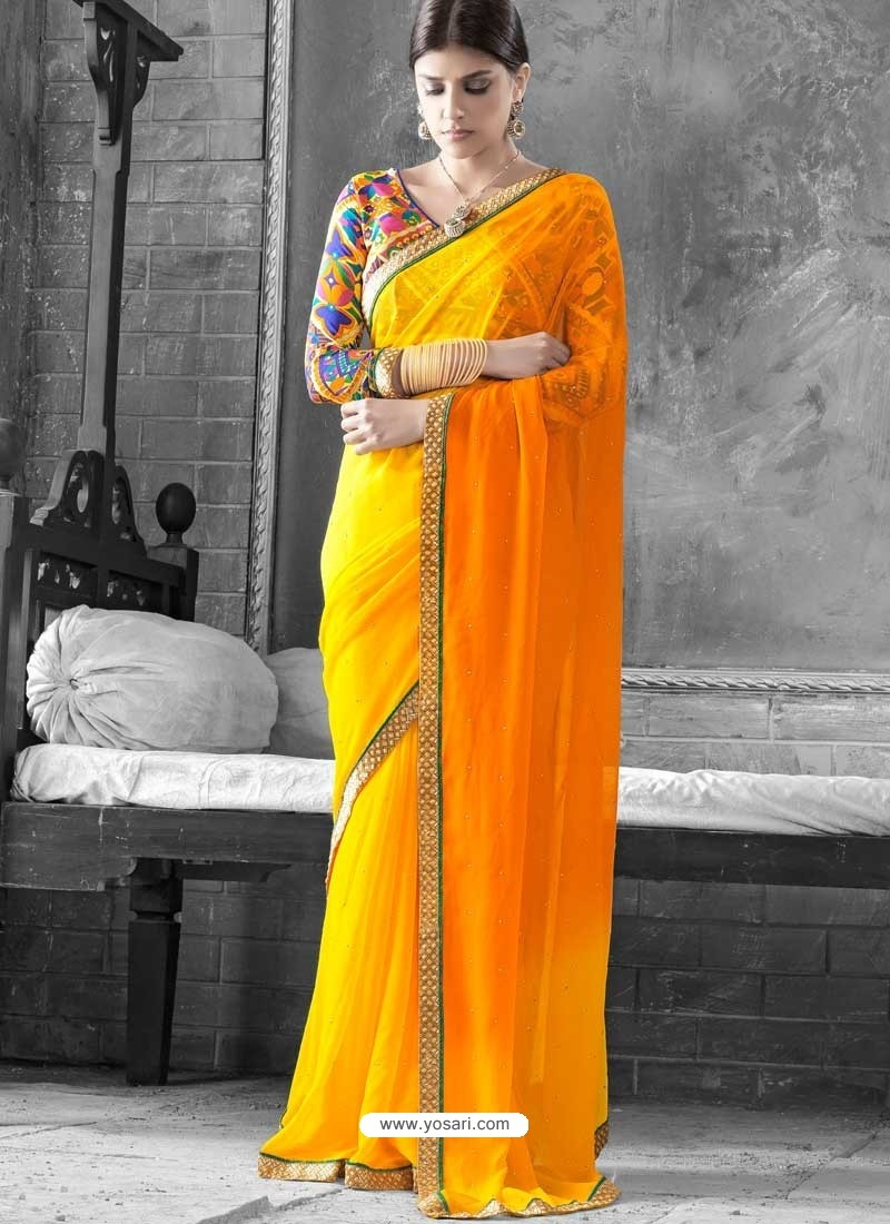 Yellow Georgette Saree