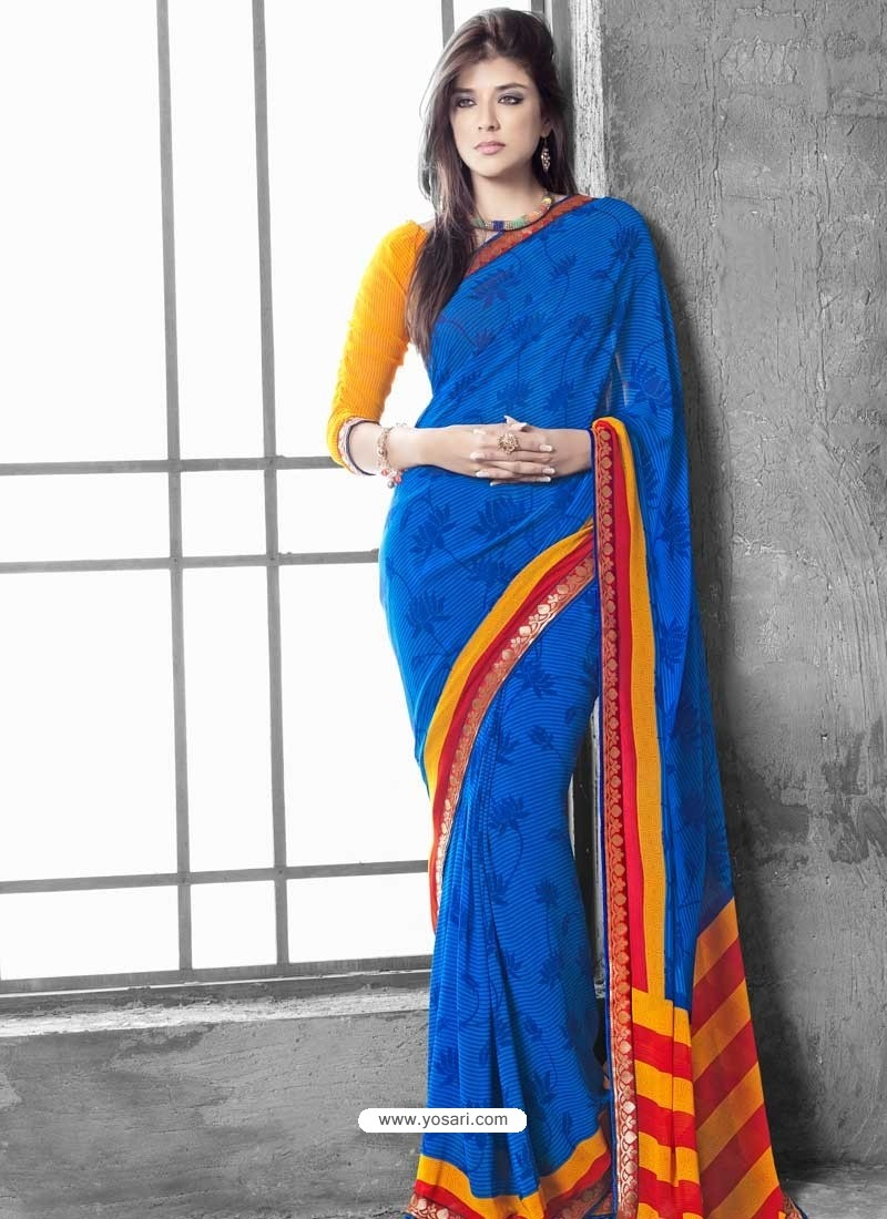 Blue And Orange Georgette Saree