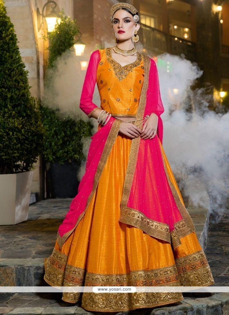 bb8bdf4e8e Buy Banarasi Silk Hot Pink And Mustard Lehenga Choli | Wedding ...