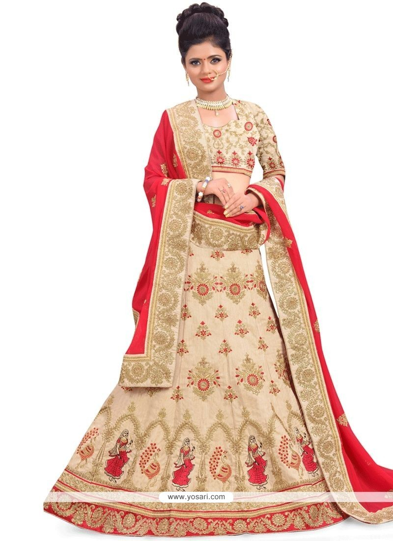 ba50747f52 Buy Art Silk Cream And Red Patch Border Work Lehenga Choli | Wedding ...