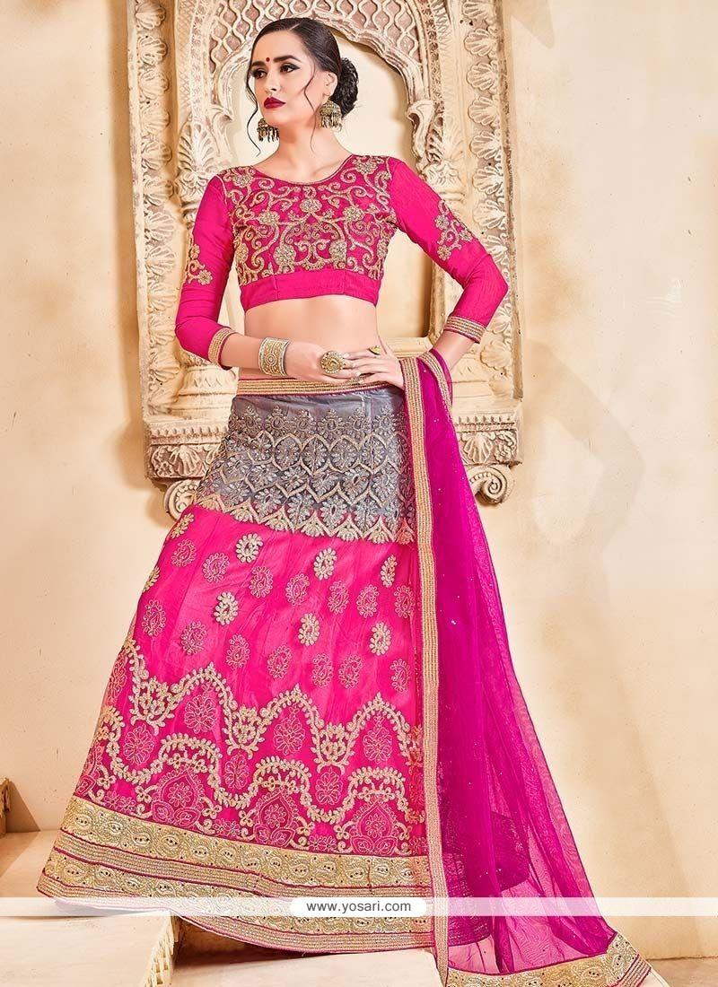 de1ef619e249 Buy Grey And Hot Pink Net Lehenga Choli