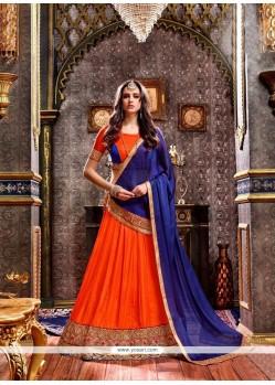 Lace Art Silk Lehenga Choli In Navy Blue And Orange