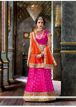 Orange And Pink Art Silk Lehenga Choli