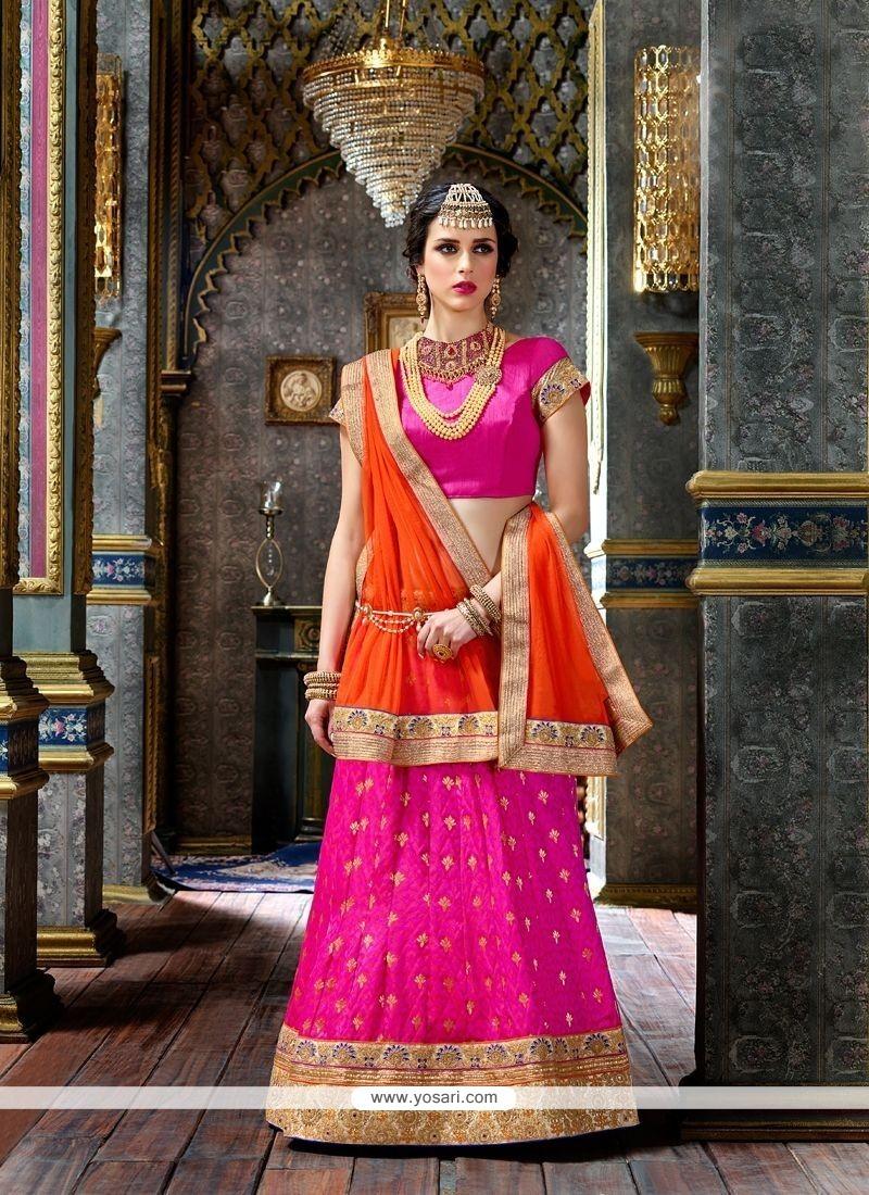ab3884f77b Buy Orange And Pink Art Silk Lehenga Choli | Wedding Lehenga Choli