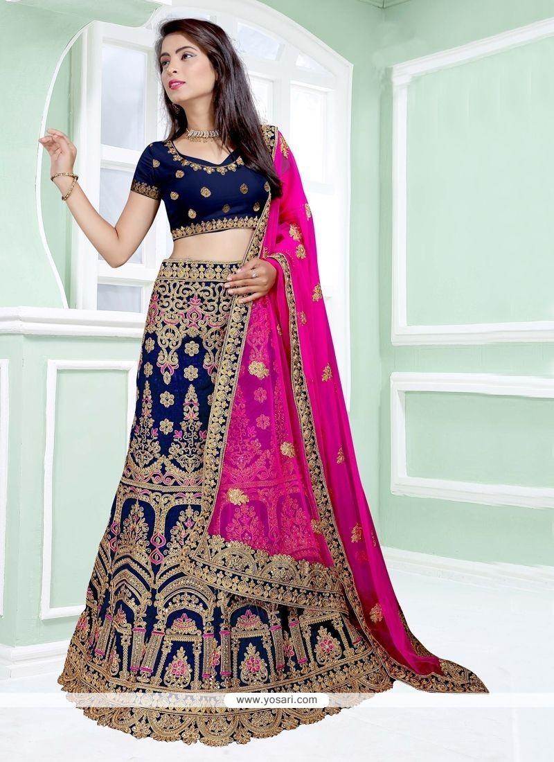 b7b372727b3bc4 Buy Art Silk Hot Pink And Navy Blue Lehenga Choli | Wedding Lehenga ...