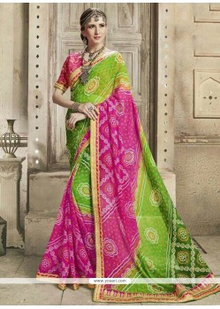 Green And Hot Pink Zari Work Faux Georgette Saree