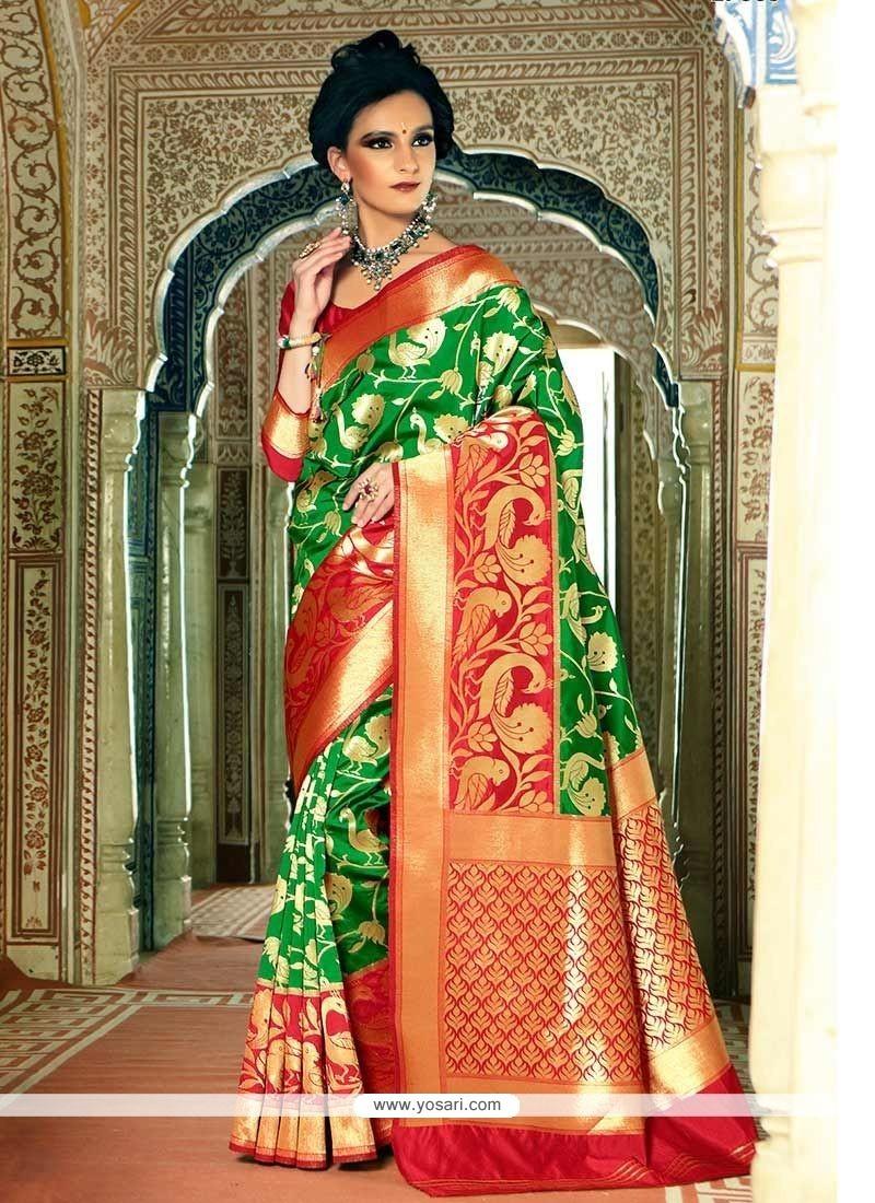 484dbe6c2a Buy Green Weaving Work Handloom Silk Traditional Designer Saree ...