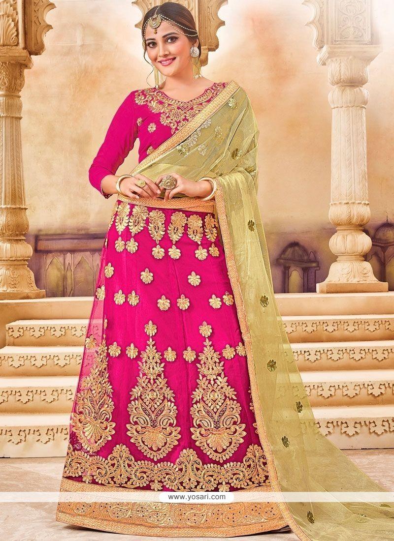 ed7ef34ad5 Buy Hot Pink Lace Work Lehenga Choli | Designer Lehenga Choli