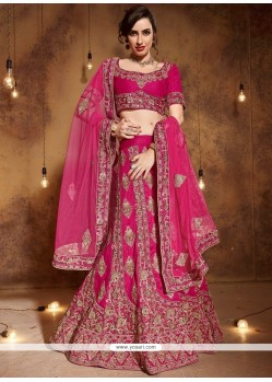 Art Silk Hot Pink Zari Work Lehenga Choli
