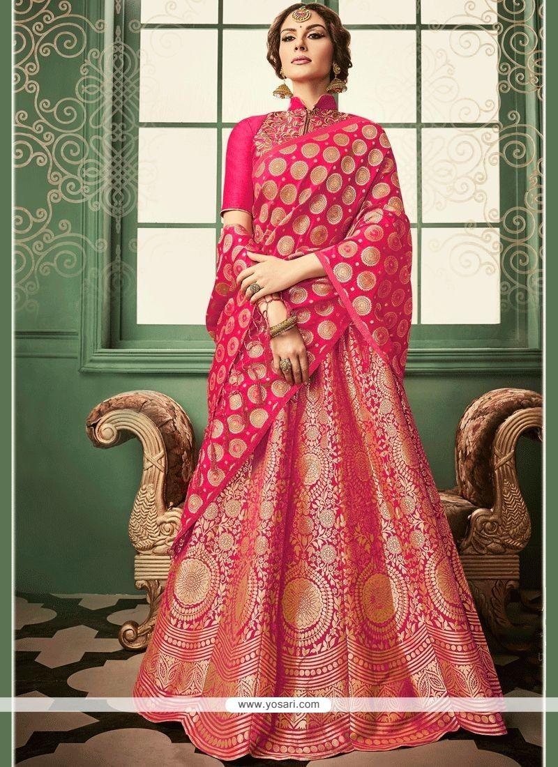 4587f37896 Buy Banarasi Silk Hot Pink Lehenga Choli | Wedding Lehenga Choli