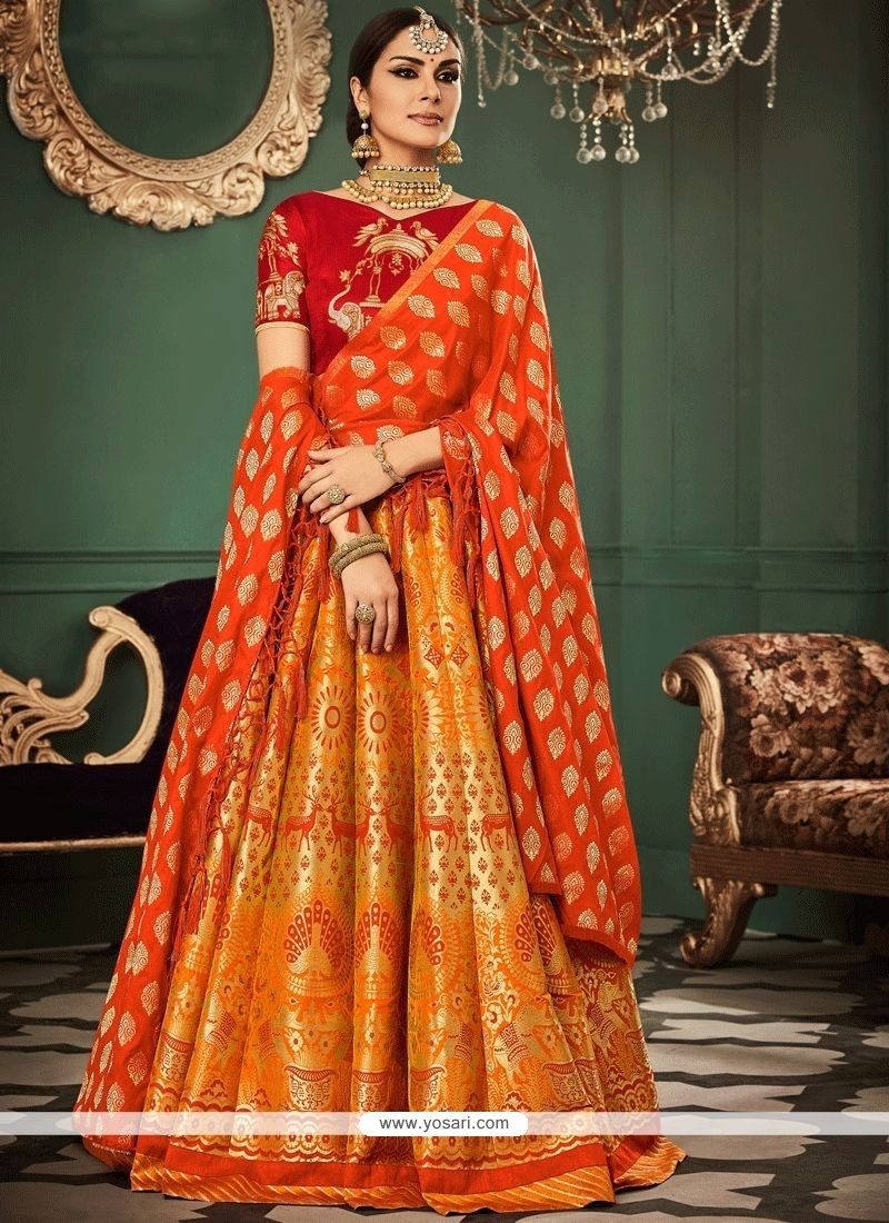 f79402dd15 Buy Banarasi Silk Orange And Red Lehenga Choli | Wedding Lehenga Choli