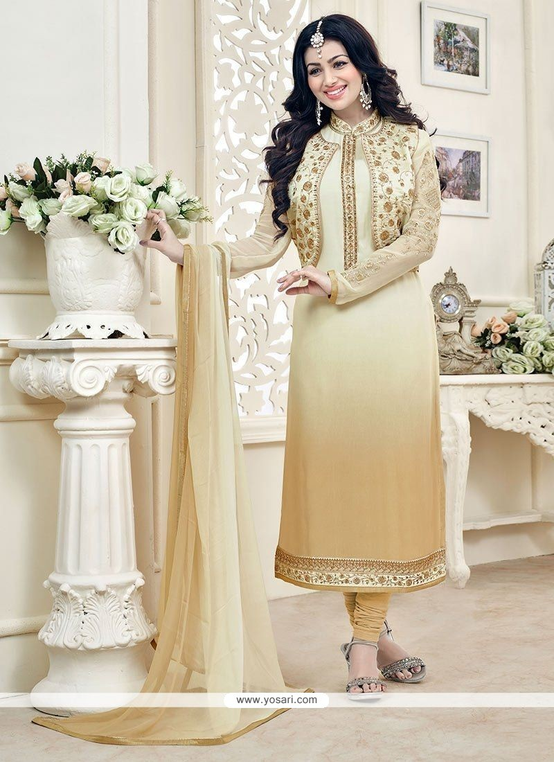 4b812a2f95 Buy Ayesha Takia Embroidered Work Beige And Cream Jacket Style Suit ...