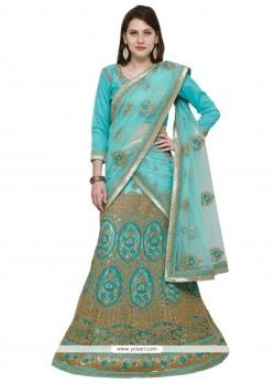 Embroidered Work Turquoise Net Lehenga Choli