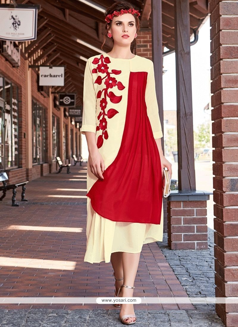 0c7f89f19 Buy Red And White Embroidered Work Faux Georgette Party Wear Kurti ...