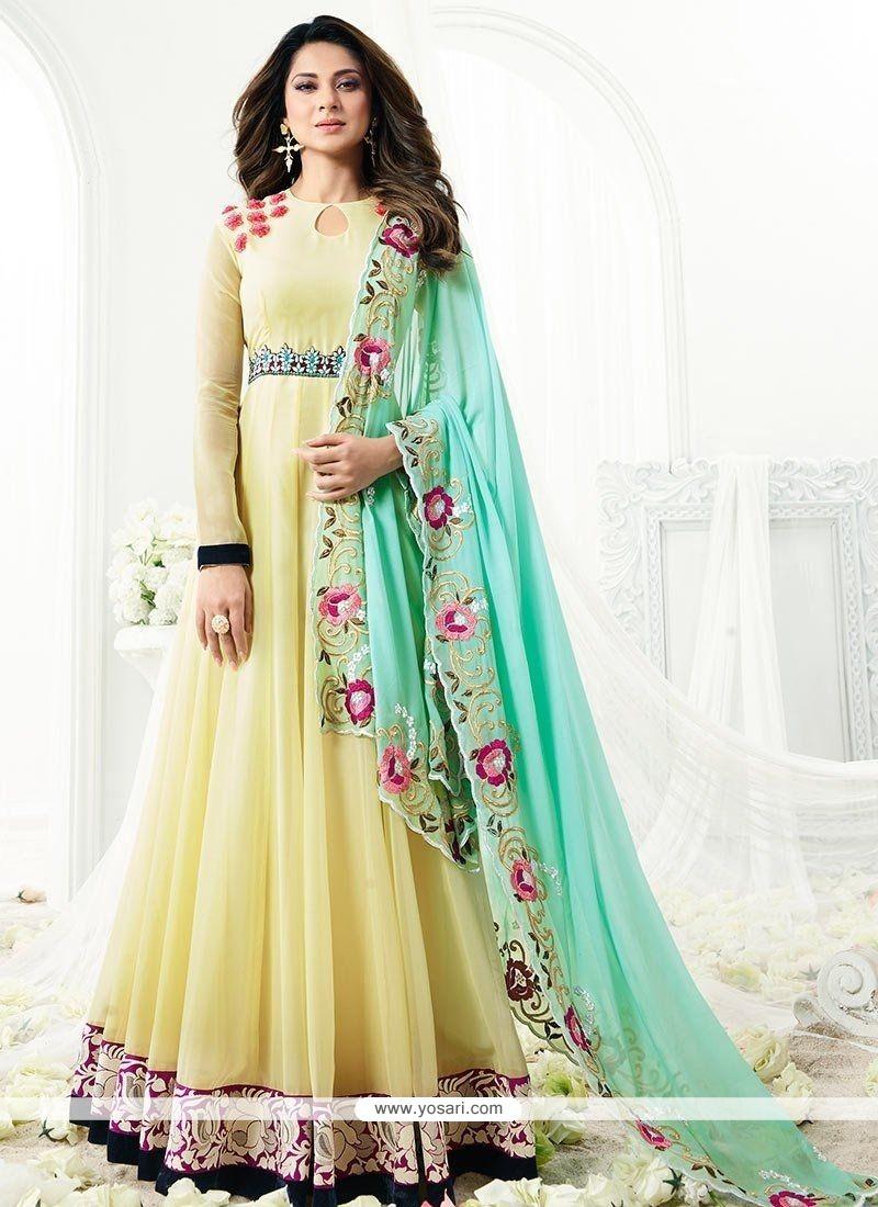 82852fe414 Buy Jennifer Winget Faux Georgette Floor Length Anarkali Suit ...