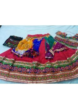 Pink Designer Cotton Lehenga Choli For Garba
