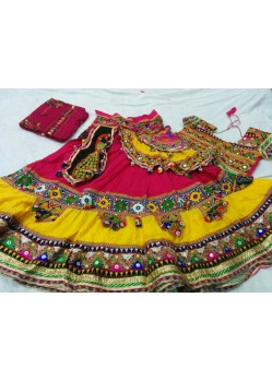 Pink And Yellow Navratri Ghagra Choli