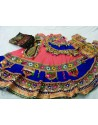 Peach Blue Cotton Ghagra Choli