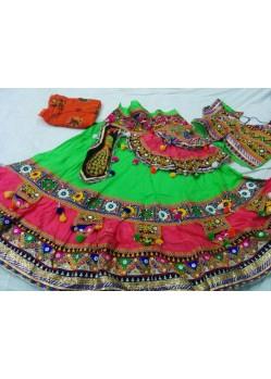Green Cotton Navratri Ghagra Choli