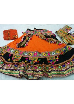 Orange Patch Work Ghagra Choli