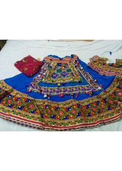 Blue Border Patch Work Ghagra Choli