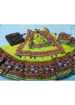 Yellow Cotton Festival Wear Ghagra Choli For Navratri
