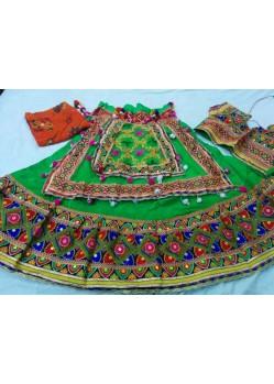 Green Cotton Border Patch Work Ghagra Choli