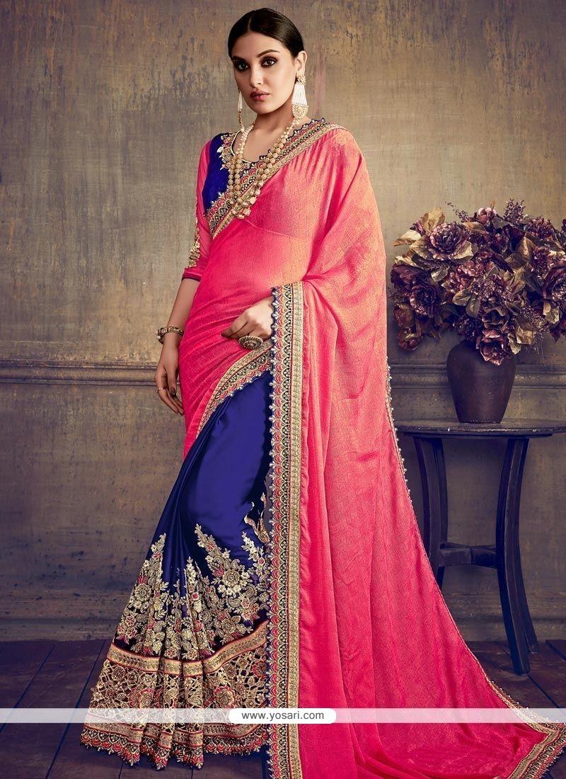 84360541ebe1 Buy Faux Chiffon Hot Pink And Navy Blue Half N Half Saree