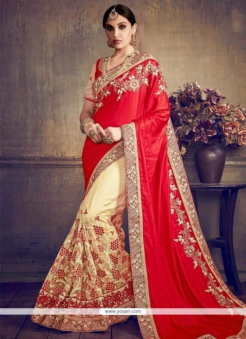 0a468169eb0 Buy Cream And Red Embroidered Work Designer Half N Half Saree ...