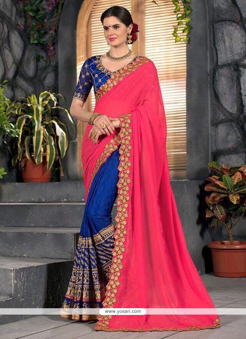 36c27bd55f3f Buy Hot Pink And Navy Blue Designer Half N Half Saree