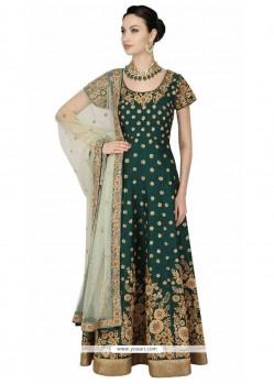 Embroidered Work Green Banglori Silk Floor Length Anarkali Suit