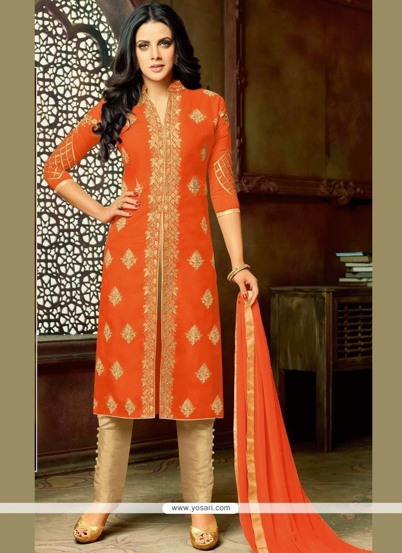 c78992c82f59 Buy Embroidered Work Orange Art Silk Pant Style Suit | Pakistani Suits