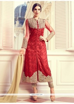 Embroidered Work Red Pant Style Suit