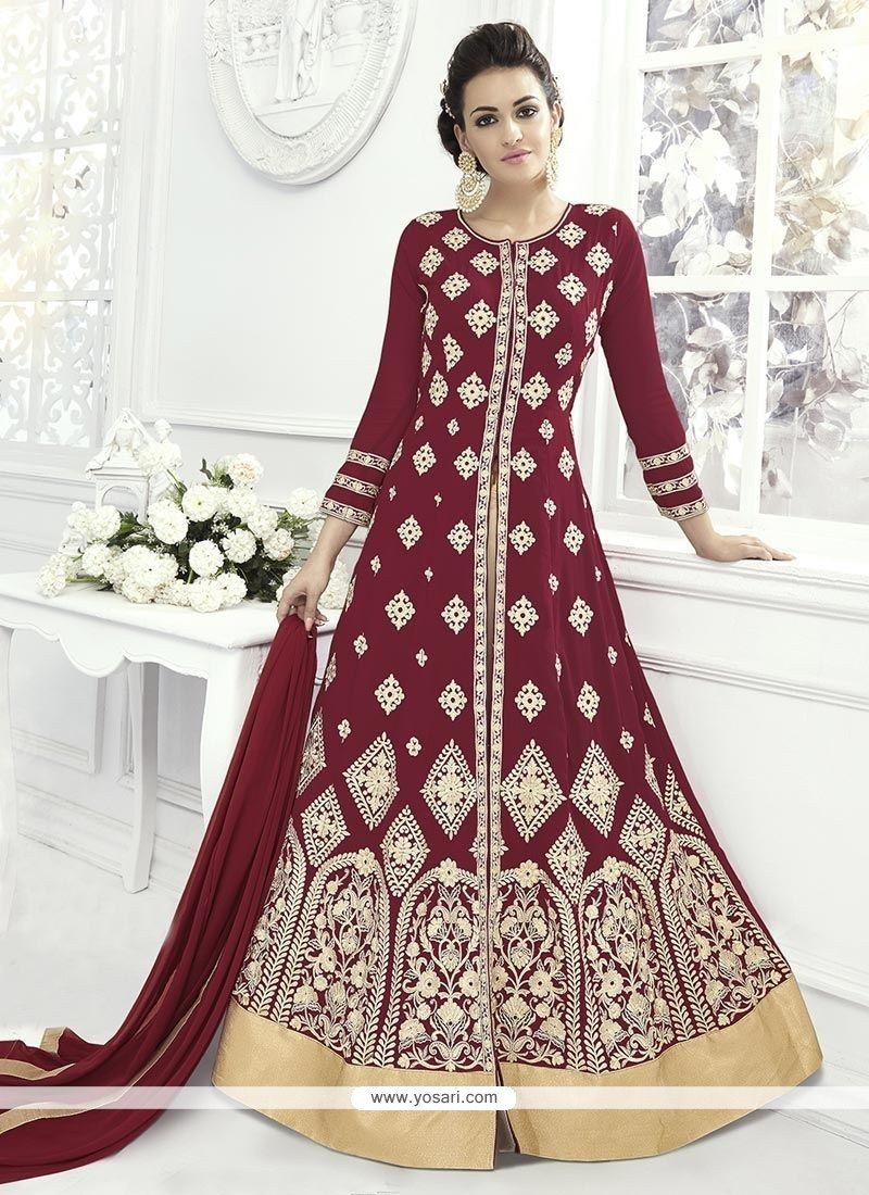 Buy resham work maroon floor length anarkali suit for Floor length suits