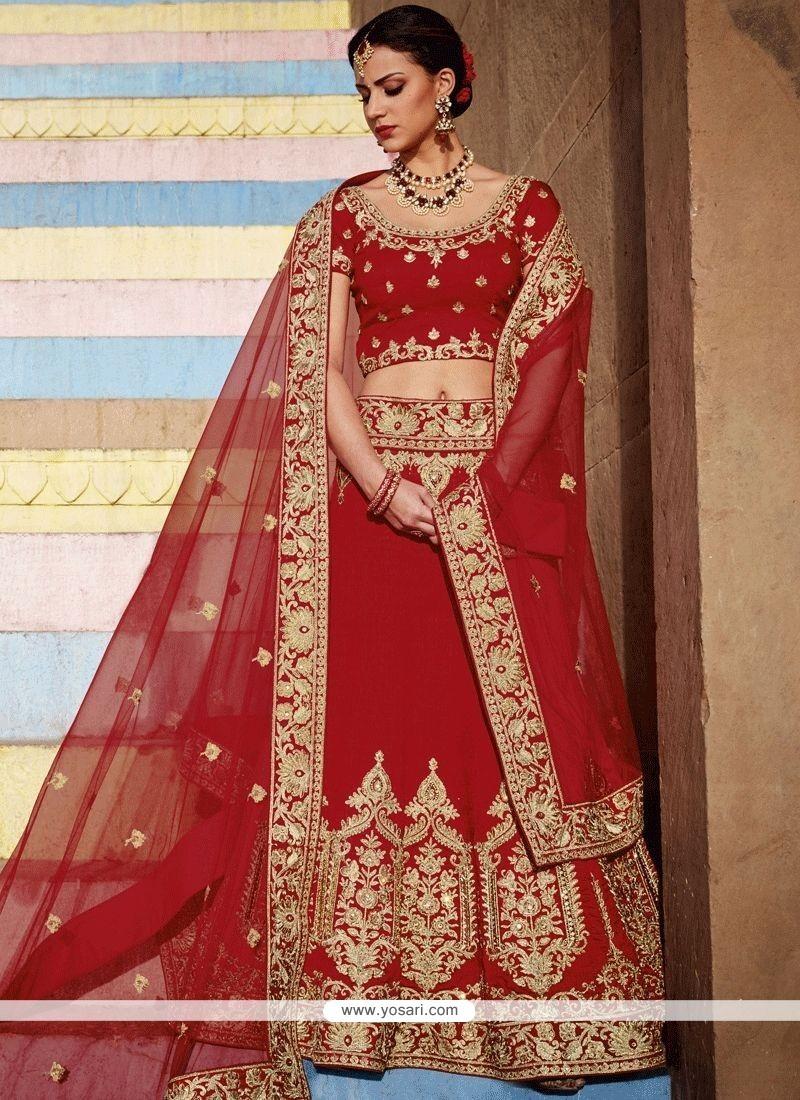 f9023254da Buy Art Silk Red Patch Border Work Lehenga Choli | Bridal Lehenga Choli