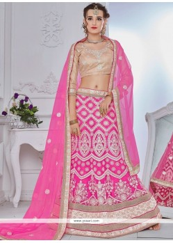 Hot Pink Lace Work Net Lehenga Choli