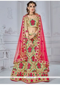 Beige And Hot Pink Embroidered Work Lehenga Choli