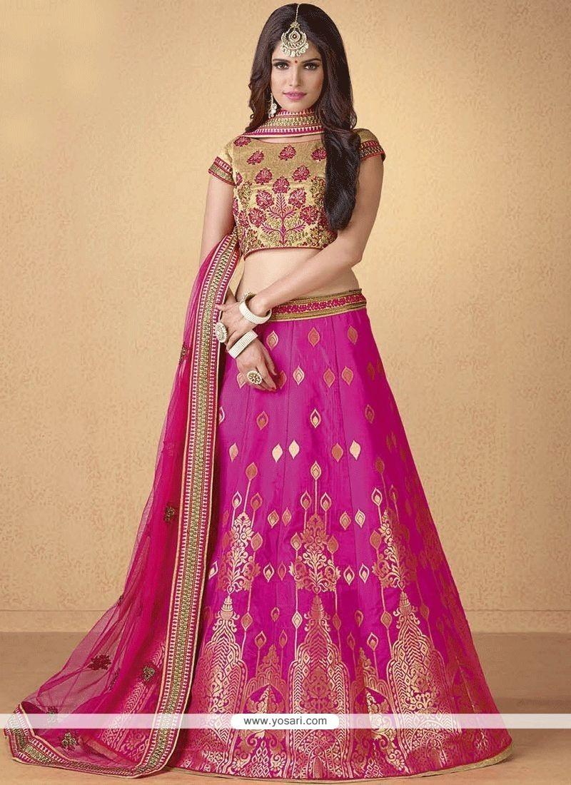 f6299ddc2e2 Buy Hot Pink Embroidered Work Banarasi Silk Lehenga Choli